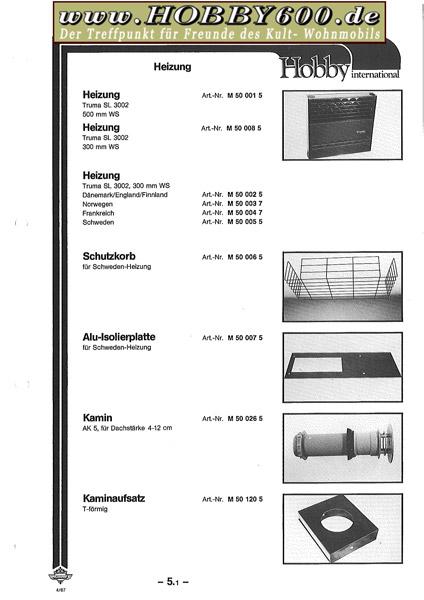 hobby 600 ein wohnmobil ist kult ersatzteilkatalog 1985 1993. Black Bedroom Furniture Sets. Home Design Ideas