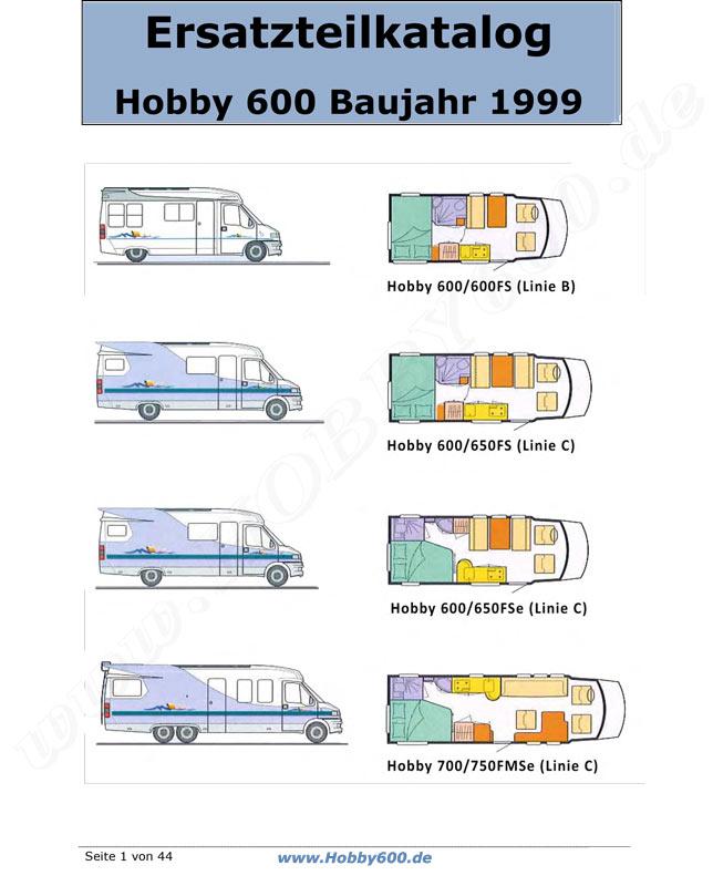 Hobby 600 - Ein Wohnmobil ist Kult - Ersatzteilkatalog 1994-1998